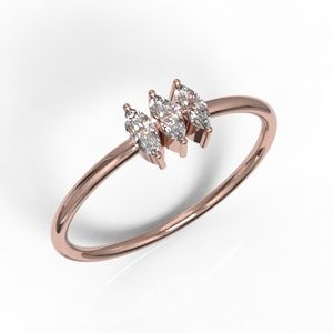 Solid Rose Gold 3 Marquise Cut CZ Ring